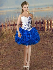 Blue And White Sleeveless Organza Lace Up Prom Party Dress for Prom and Party