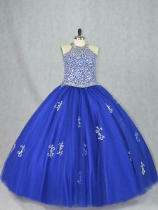 Blue Ball Gowns Beading Quinceanera Gowns Lace Up Tulle Sleeveless Floor Length