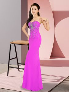Fuchsia Chiffon Zipper Sweetheart Sleeveless Floor Length Homecoming Dress Beading