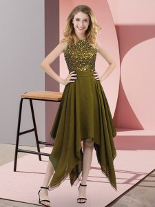 Sleeveless Chiffon Asymmetrical Zipper Prom Party Dress in Olive Green with Beading and Sequins