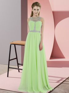 Flare Yellow Green Scoop Neckline Beading Dress for Prom Sleeveless Zipper