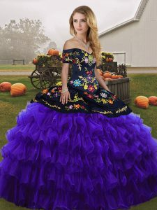 Organza Sleeveless Floor Length Sweet 16 Quinceanera Dress and Embroidery and Ruffled Layers