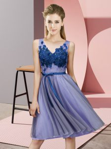 Elegant Lavender Empire Appliques Vestidos de Damas Lace Up Tulle Sleeveless Knee Length
