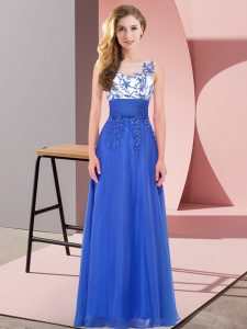 Glorious Royal Blue Backless Scoop Appliques Quinceanera Court of Honor Dress Chiffon Sleeveless