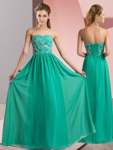 Turquoise Lace Up Prom Dresses Beading Sleeveless Floor Length