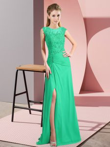 Sleeveless Zipper Floor Length Beading Dress for Prom