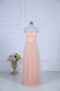 Low Price Ruching Damas Dress Peach Zipper Sleeveless Floor Length
