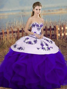 Sleeveless Tulle Floor Length Lace Up Quinceanera Gown in White And Purple with Embroidery and Ruffles and Bowknot