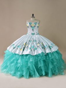 Glorious Sleeveless Embroidery and Ruffles Lace Up Vestidos de Quinceanera