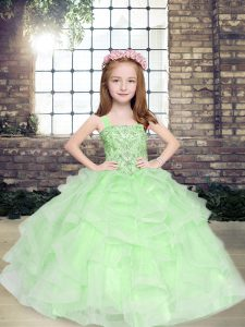 Best Tulle Straps Sleeveless Lace Up Beading and Ruffles Little Girl Pageant Dress in Apple Green
