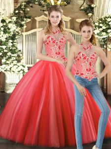 Sleeveless Tulle Floor Length Lace Up Ball Gown Prom Dress in Coral Red with Embroidery