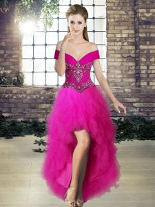 Exquisite Tulle Sleeveless High Low Prom Gown and Beading and Ruffles
