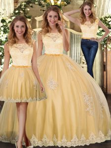 Fine Gold Sleeveless Tulle Clasp Handle Vestidos de Quinceanera for Military Ball and Sweet 16 and Quinceanera