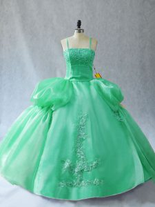 Customized Green Lace Up Quinceanera Dresses Appliques Sleeveless Floor Length