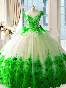 Sleeveless Hand Made Flower Zipper 15th Birthday Dress with Green Brush Train