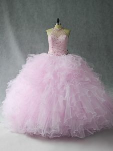 Fashion Tulle Sleeveless Floor Length Quince Ball Gowns and Beading and Ruffles
