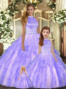 Lavender Ball Gowns Halter Top Sleeveless Tulle Floor Length Backless Beading and Ruffles 15th Birthday Dress