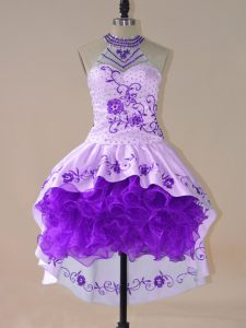 Purple Satin and Organza Lace Up Halter Top Long Sleeves High Low Prom Homecoming Dress Embroidery and Ruffles