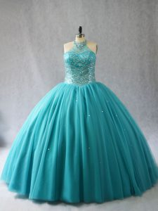Affordable Aqua Blue Ball Gowns Halter Top Sleeveless Tulle Brush Train Lace Up Beading Sweet 16 Quinceanera Dress