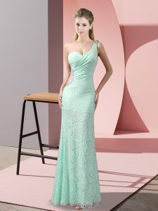 Floor Length Apple Green Prom Gown Lace Sleeveless Beading and Lace