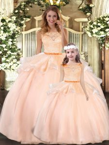 Customized Sleeveless Floor Length Lace Zipper Ball Gown Prom Dress with Peach