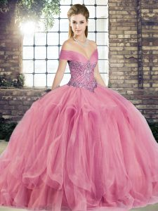 Beading and Ruffles Ball Gown Prom Dress Watermelon Red Lace Up Sleeveless Floor Length