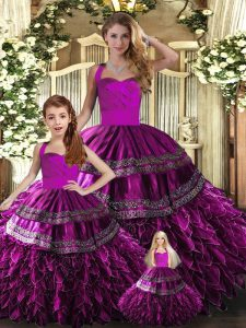 Fuchsia Ball Gowns Halter Top Sleeveless Organza Floor Length Lace Up Embroidery and Ruffles 15th Birthday Dress