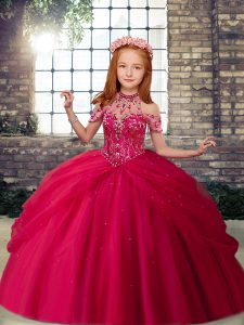 Floor Length Ball Gowns Sleeveless Hot Pink Pageant Dress for Teens Lace Up