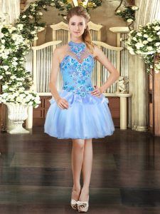 Ball Gowns Prom Party Dress Light Blue Halter Top Organza Sleeveless Mini Length Lace Up