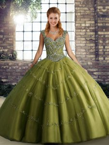 Superior Olive Green Ball Gowns Beading and Appliques Ball Gown Prom Dress Lace Up Tulle Sleeveless Floor Length