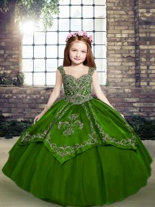 Ball Gowns Evening Gowns Green Straps Tulle Sleeveless Floor Length Lace Up