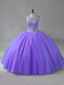 Lavender Ball Gowns Scoop Sleeveless Tulle Lace Up Beading 15 Quinceanera Dress