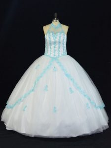 Sumptuous Blue And White Lace Up Halter Top Appliques Sweet 16 Dress Tulle Sleeveless
