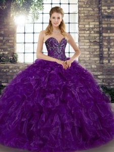 Fantastic Sweetheart Sleeveless Organza Quinceanera Gown Beading and Ruffles Lace Up