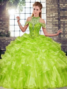 Graceful Olive Green 15 Quinceanera Dress Military Ball and Sweet 16 and Quinceanera with Beading and Ruffles Halter Top Sleeveless Lace Up