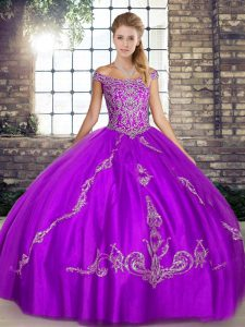 Floor Length Lace Up Quinceanera Gowns Purple for Military Ball and Sweet 16 and Quinceanera with Beading and Embroidery
