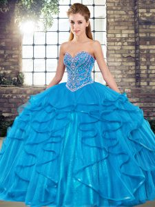 Cute Blue Lace Up Sweetheart Beading and Ruffles 15 Quinceanera Dress Tulle Sleeveless