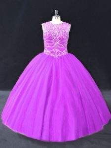 Admirable Purple Sleeveless Tulle Lace Up 15 Quinceanera Dress for Sweet 16 and Quinceanera