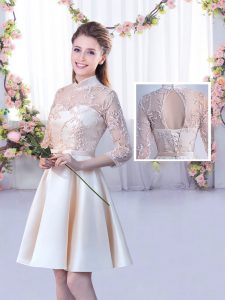 High-neck Half Sleeves Lace Up Quinceanera Court of Honor Dress Champagne Satin