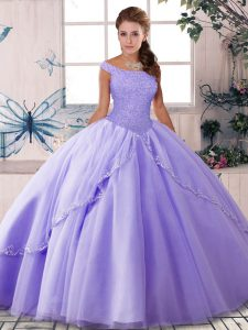 Designer Lavender Lace Up Quinceanera Gown Beading Sleeveless Brush Train