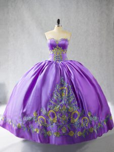 Lavender Sweetheart Lace Up Embroidery Quinceanera Gowns Sleeveless