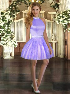 Ball Gowns Cocktail Dresses Lavender Halter Top Organza Sleeveless Mini Length Backless
