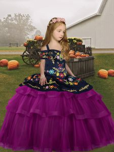 Straps Long Sleeves Lace Up Pageant Dress for Teens Fuchsia Tulle