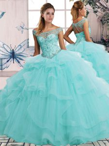 Off The Shoulder Sleeveless Sweet 16 Quinceanera Dress Floor Length Beading and Ruffles Aqua Blue Tulle