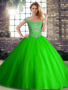 Best Selling Green 15th Birthday Dress Military Ball and Sweet 16 and Quinceanera with Beading Off The Shoulder Sleeveless Brush Train Lace Up