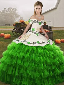 Free and Easy Floor Length Green 15 Quinceanera Dress Organza Sleeveless Embroidery and Ruffled Layers