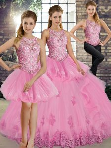 Discount Scoop Sleeveless Lace Up Quince Ball Gowns Rose Pink Tulle