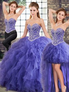 Simple Lavender Three Pieces Tulle Sweetheart Sleeveless Beading and Ruffles Floor Length Lace Up Quinceanera Dress