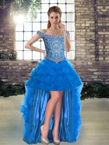 Decent Blue Off The Shoulder Neckline Beading and Pick Ups Prom Gown Sleeveless Lace Up