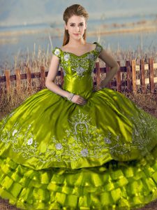 Delicate Off The Shoulder Sleeveless Lace Up Quinceanera Dress Olive Green Satin and Organza